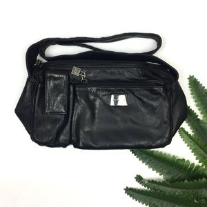 Perlina New York Black Soft Leather Shoulder Bag